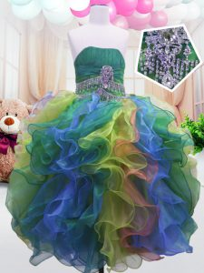 Cute Multi-color Organza Zipper Girls Pageant Dresses Sleeveless Floor Length Beading and Ruffles