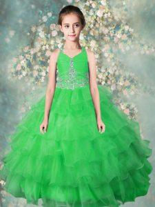 Halter Top Ruffled Floor Length Ball Gowns Sleeveless Green Little Girls Pageant Dress Wholesale Zipper