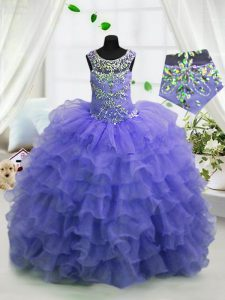 On Sale Ruffled Ball Gowns Kids Formal Wear Lavender Scoop Organza Sleeveless Floor Length Lace Up