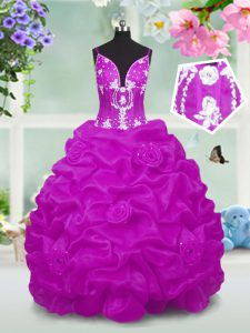 Elegant Floor Length Lace Up Kids Formal Wear Fuchsia for Party and Wedding Party with Beading and Appliques and Pick Ups