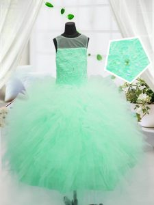 Best Scoop Floor Length Apple Green Little Girl Pageant Gowns Tulle Sleeveless Beading and Appliques