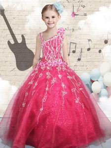 Enchanting Tulle Sleeveless Floor Length Kids Pageant Dress and Appliques