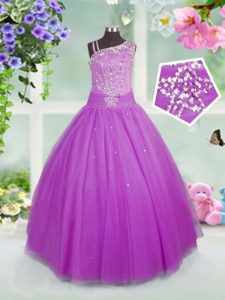 Lilac Tulle Lace Up Girls Pageant Dresses Sleeveless Floor Length Beading