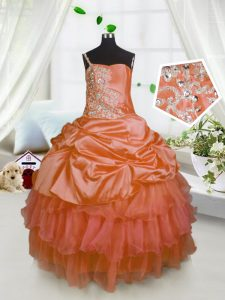 Pick Ups Ruffled Ball Gowns Girls Pageant Dresses Orange One Shoulder Satin and Tulle Sleeveless Floor Length Lace Up