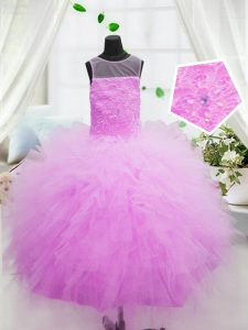 Scoop Sleeveless Zipper Floor Length Beading and Appliques Little Girls Pageant Dress Wholesale