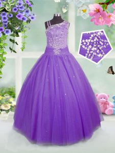 Lavender Side Zipper Asymmetric Beading Little Girl Pageant Gowns Tulle Sleeveless