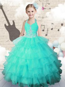 Stunning Halter Top Organza Sleeveless Floor Length Kids Pageant Dress and Beading and Ruffled Layers