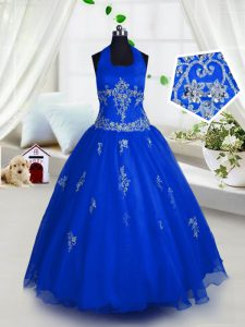 Best Tulle Halter Top Sleeveless Lace Up Appliques Little Girls Pageant Dress Wholesale in Blue