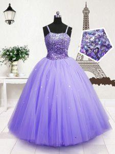 Sleeveless Beading and Sequins Zipper Little Girl Pageant Dress