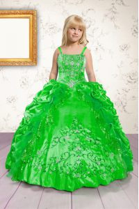 Floor Length Little Girls Pageant Dress Satin Sleeveless Beading and Appliques and Pick Ups