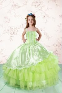 Best Yellow Green Organza Lace Up Spaghetti Straps Sleeveless Floor Length Child Pageant Dress Embroidery and Ruffled Layers