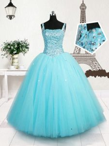 Light Blue Lace Up Straps Beading and Sequins Little Girl Pageant Dress Tulle Sleeveless