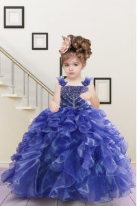 Sleeveless Floor Length Beading and Ruffles Lace Up Little Girls Pageant Dress with Navy Blue
