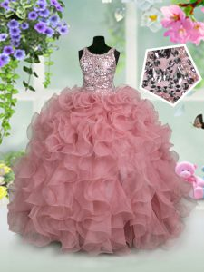 Sequins Ball Gowns Kids Formal Wear Pink Scoop Organza Sleeveless Floor Length Zipper