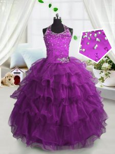 Scoop Organza Sleeveless Floor Length Little Girl Pageant Dress and Beading and Ruffled Layers
