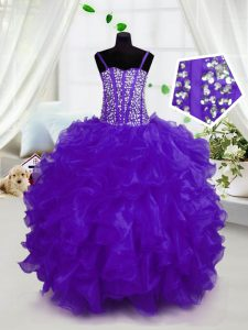 Purple Lace Up Little Girls Pageant Dress Beading and Ruffles Sleeveless Floor Length