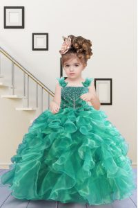 New Style Turquoise Ball Gowns Organza Straps Sleeveless Beading and Ruffles Floor Length Lace Up Girls Pageant Dresses