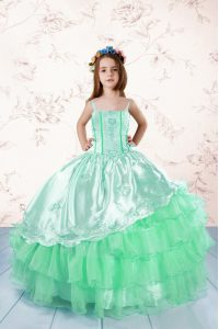 Apple Green Spaghetti Straps Lace Up Embroidery and Ruffled Layers Little Girls Pageant Dress Sleeveless
