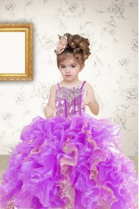 Wonderful Floor Length Multi-color Little Girls Pageant Dress Wholesale Organza Sleeveless Beading and Ruffles and Sequins