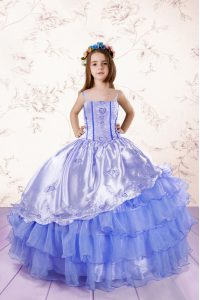 Fashion Ruffled Floor Length Baby Blue Little Girl Pageant Dress Spaghetti Straps Sleeveless Lace Up