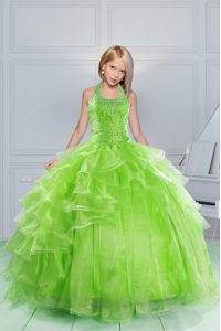 Halter Top Sleeveless Little Girls Pageant Dress Wholesale Floor Length Beading and Ruching Apple Green Organza