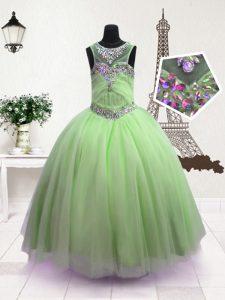Scoop Green Ball Gowns Beading Little Girls Pageant Dress Zipper Organza Sleeveless Floor Length