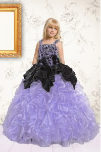 Trendy Beading and Pick Ups Kids Pageant Dress Lavender Lace Up Sleeveless Floor Length