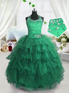 Scoop Floor Length Peacock Green Girls Pageant Dresses Organza Sleeveless Beading and Ruffled Layers