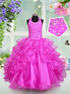 Halter Top Ruffled Fuchsia Sleeveless Organza Lace Up Little Girls Pageant Dress Wholesale for Party