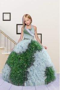 Halter Top Floor Length Lace Up Little Girls Pageant Dress Wholesale Green and Light Blue for Party and Wedding Party with Beading and Ruffles
