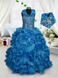 Fancy Teal Taffeta Zipper Halter Top Sleeveless Floor Length Little Girl Pageant Dress Beading and Ruffles