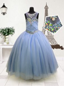 Scoop Sleeveless Organza Kids Pageant Dress Beading and Ruffles Zipper