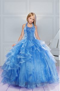 Inexpensive Halter Top Baby Blue Sleeveless Floor Length Beading and Ruffles Lace Up Pageant Gowns For Girls
