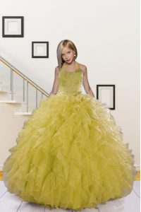 Light Yellow Ball Gowns Halter Top Sleeveless Organza Floor Length Lace Up Beading and Ruffles Little Girl Pageant Gowns