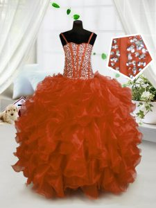 Admirable Sleeveless Beading and Ruffles Lace Up Child Pageant Dress