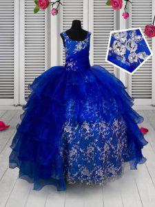 Adorable Organza Straps Sleeveless Lace Up Appliques Little Girls Pageant Dress Wholesale in Blue