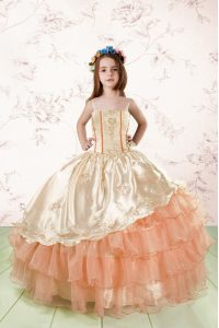 Ruffled Ball Gowns Child Pageant Dress Orange Red Spaghetti Straps Organza Sleeveless Floor Length Lace Up