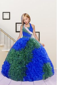 Halter Top Sleeveless Lace Up Pageant Gowns For Girls Blue and Dark Green Fabric With Rolling Flowers