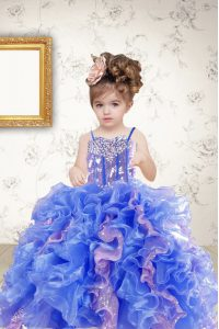 Sleeveless Beading and Ruffles and Sequins Lace Up Child Pageant Dress