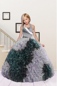 Top Selling Halter Top Dark Green and Silver Sleeveless Floor Length Beading and Ruffles Lace Up Little Girl Pageant Gowns