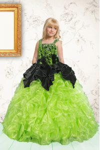 Pick Ups Ball Gowns Little Girl Pageant Gowns Apple Green Straps Organza Sleeveless Floor Length Lace Up