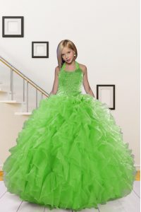 Hot Sale Halter Top Floor Length Lace Up Little Girl Pageant Dress Green for Wedding Party with Beading and Ruffles