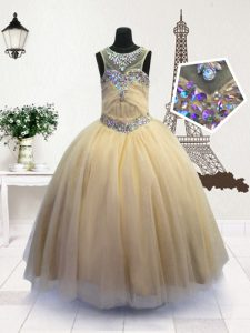Nice Scoop Sleeveless Zipper Little Girl Pageant Dress Light Yellow Organza