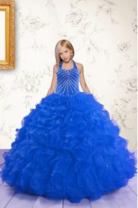 Great Royal Blue Halter Top Lace Up Beading and Ruffles Little Girl Pageant Gowns Sleeveless