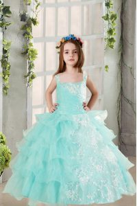 Sleeveless Lace Up Floor Length Lace and Ruffled Layers Kids Pageant Dress