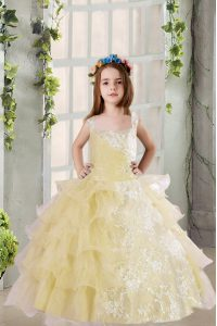 Perfect Sleeveless Lace Up Floor Length Lace and Ruffled Layers Little Girls Pageant Gowns