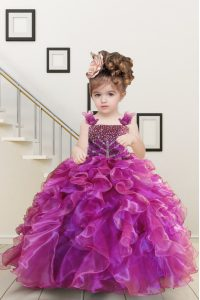 Mermaid Kids Formal Wear Fuchsia Straps Organza Sleeveless Floor Length Lace Up