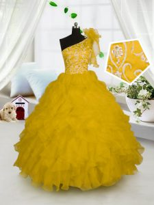 Charming Ball Gowns Little Girl Pageant Dress Gold One Shoulder Organza Sleeveless Floor Length Side Zipper