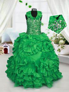 Halter Top Taffeta Sleeveless Floor Length Little Girls Pageant Dress and Beading and Ruffles
