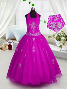 Halter Top Sleeveless Lace Up Floor Length Appliques Pageant Gowns For Girls